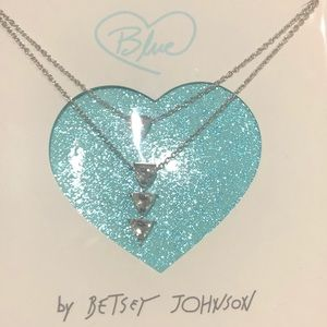 Betsey Johnson Betsey Blue Gift Necklace. NWT.